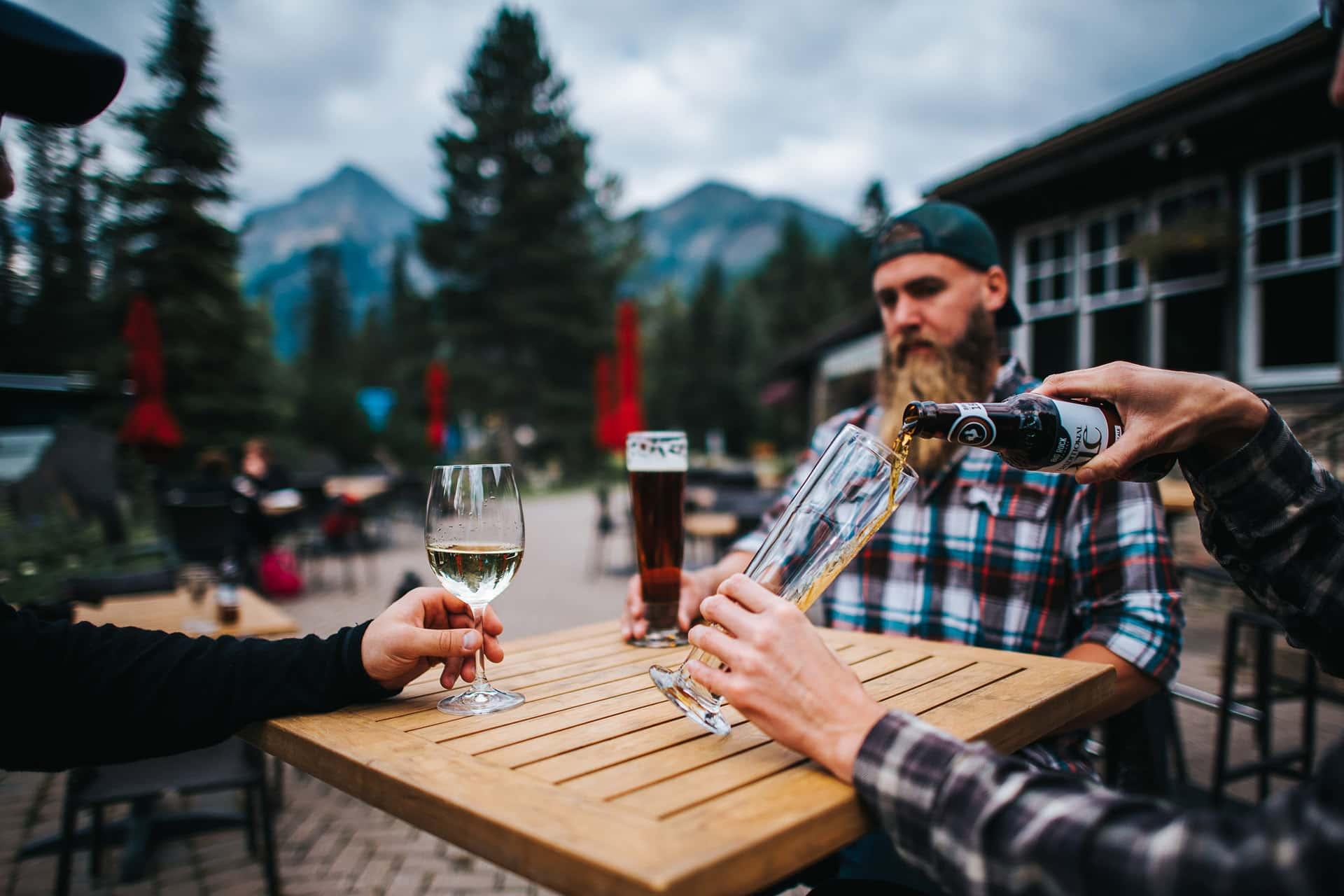 Patio Beers with Friends at Deer Lodge in Lake Louise