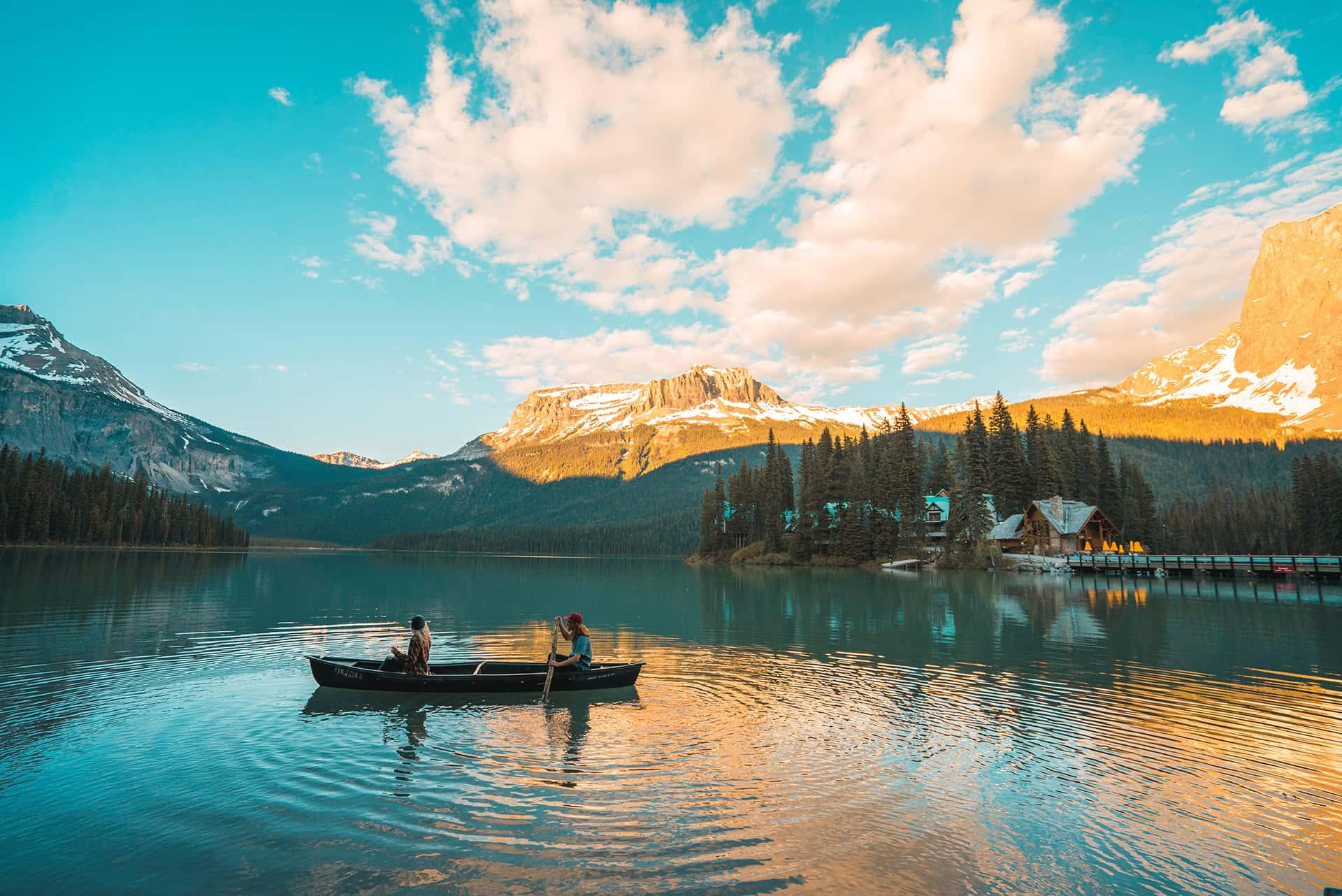 Canoeing in Emerald Lake at Yoho National Park