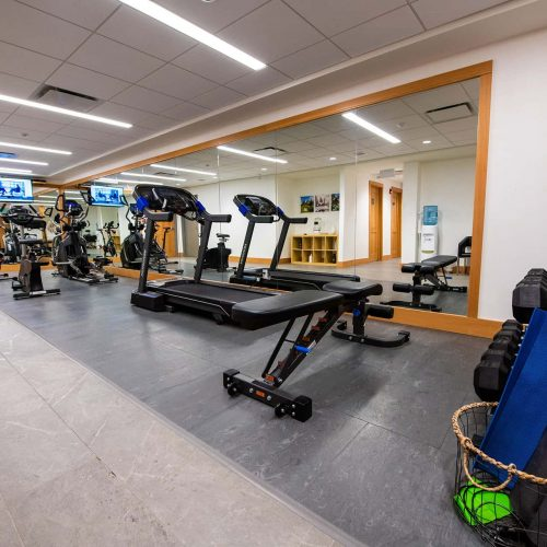 Fitness gym for guests at Buffalo Mountain Lodge in Banff National Park