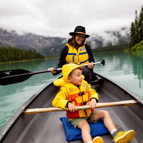 Canoeing in Emerald Lake at Yoho National Park